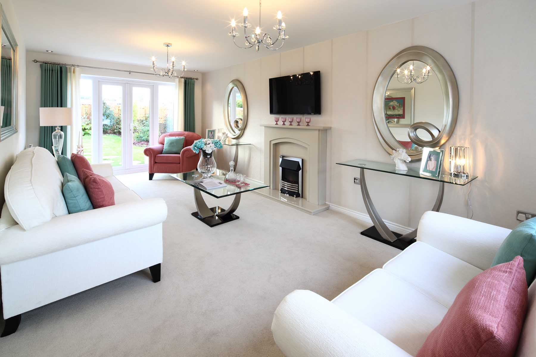 Spacious living room with French doors to the rear garden